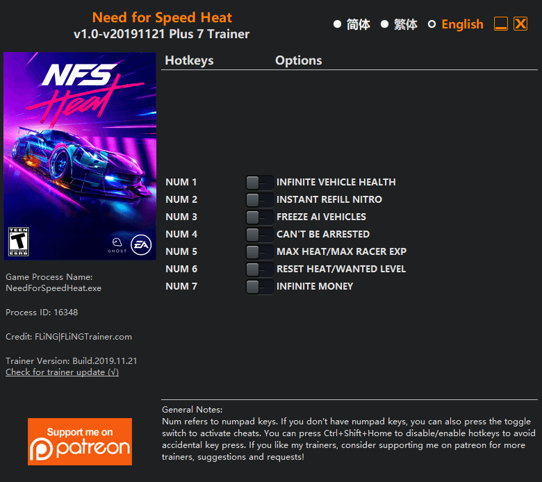 ترینر بازی Need for Speed Heat