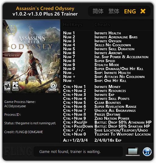 تصویر ترینر FLiNG برای بازی Assassin's Creed Odyssey